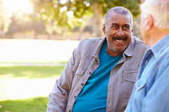 Two Senior Men Talking Outdoors Together. In Park Smiling stock photos