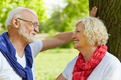 Two senior people flirting in park Royalty Free Stock Photography