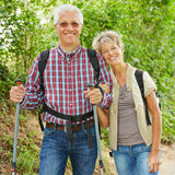 Two senior people hiking in nature Royalty Free Stock Photo
