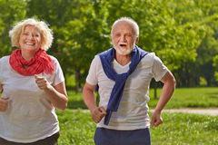 Two senior people jogging in a park Royalty Free Stock Image