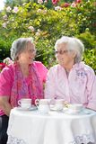 Two senior smiling women having tea in garden Royalty Free Stock Images