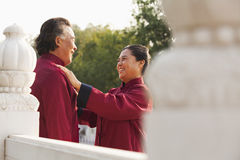 Two senior Taijiquan practitioners in Beijing Royalty Free Stock Photo