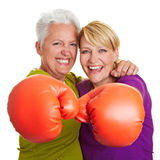 Two senior women boxing Royalty Free Stock Photo