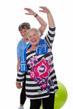 Two senior women doing gym exercises Royalty Free Stock Photography