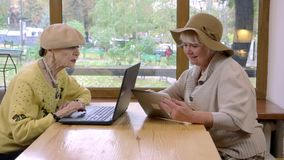 Two senior women and laptop. stock video