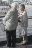 Two senior women pointing at something in the distance. Outdoors Stock Image