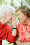 Two senior women sharing a secret Royalty Free Stock Images