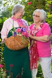 Two senior women standing in garden with basket Stock Photo