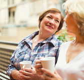 Two seniore women drinking coffee Stock Photo