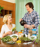 Two seniore women with  herbs Stock Images