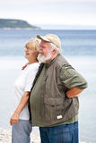 Two Seniors on the beach Stock Images