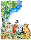 Two seniors, dog and tiger. Two senior men reading newspapers on a park bench, their pets: dog and tiger resting near Royalty Free Stock Image