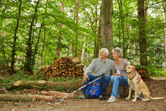 Two seniors on a hike with dog in a forest. Taking a break stock photography