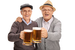 Two seniors making a toast with beer. Two senior gentlemen making a toast with beer and looking at the camera isolated on white background Royalty Free Stock Images