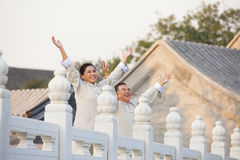 Two seniors practicing Taijiquan in Beijing, Arms outstretched Royalty Free Stock Photography