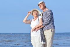 Two seniors at sea Stock Image