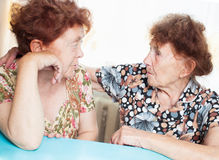 Two seniors woman talking Royalty Free Stock Photo