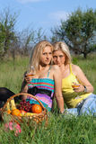 Two sensual blonde with wineglasses Royalty Free Stock Photography