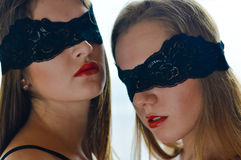 Two sensual gorgeous sexi girlfriends with eyes Royalty Free Stock Photos