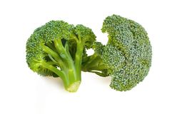 Two separate small fresh broccoli isolated on white background. The Two separate small fresh broccoli isolated on white background Stock Images