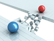 Two Separated Spheres As Crisis In Relations Royalty Free Stock Images
