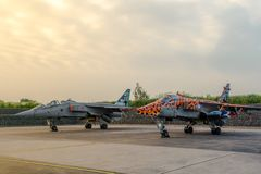 Two SEPECAT Jaguar Fast Jet Fighters stand in the morning light stock photo