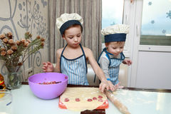 Two serious boys mold dumplings Royalty Free Stock Photography