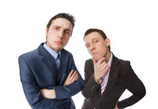 Two serious buisinessmen. Fisheye shot of two businessmen isolated on white background Stock Photography