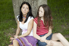Two serious friends Royalty Free Stock Photography