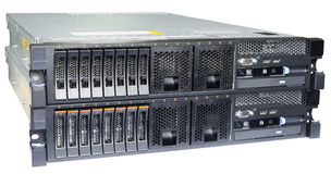 Two servers isolated. Two stacked rack mount servers isolated on the white background Stock Image