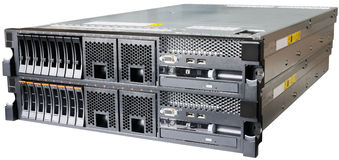 Two servers over white. Two stacked rack mount servers isolated on the white Royalty Free Stock Photography