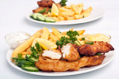 Two Servings of Fish and Chips Royalty Free Stock Photos