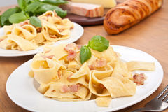Two servings of homemade pasta carbonara Royalty Free Stock Photography