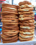 Two sesame round buns piles Royalty Free Stock Image