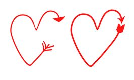 Two set of vector hearts in the form of arrows. pointer, symbol. gradient drawings. Two set of vector hearts in the form of arrows. pointer, symbol. gradient vector illustration