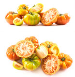 Two sets of compositions of lycopersicum type tomatoes Royalty Free Stock Image
