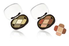 Two sets of different colors of solid eyeshadows, in black flat box with transparent lid, beauty product isolated on white. Background, clipping paths included stock photo