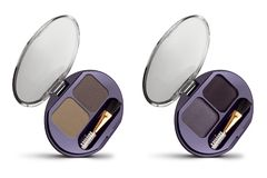 Two sets of different shades of solid eyeshadows, in elegant box with transparent lid, beauty products isolated on white. Background, clipping paths included royalty free stock photography