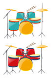 Two sets of drumset in blue and red Stock Photo