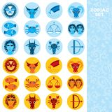 Two sets of Funny blue and orange zodiac sign icon astrological, vector Royalty Free Stock Photos
