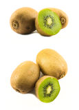 Two sets of kiwi compositions. Two sets of kiwis composed on a white background - top and side view royalty free stock image