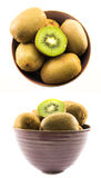 Two sets of kiwi compositions in a violet cup Stock Image