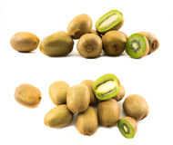 Two sets of kiwis whole and cut in half Stock Photography
