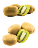 Two sets of kiwis whole and cut in half Stock Photos