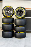 Two sets of slicks. Sochi, Russia -9 November 2014 : Formula One, Russian Grand Prix, Sochi autodrom, 16 stage Stock Photography