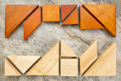 Two sets of tangream puzzle Royalty Free Stock Photography