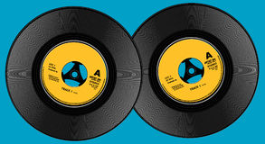 Two seven inch viynl records. Two seven inch (7) vinyl records in a photo realist style stock illustration