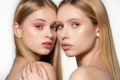 Two sexy attractive twins woman with blonde long hair posing in glamour makeup, standin behind each other, posing in the royalty free stock photo