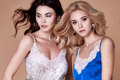 Two sexy beautiful elegant woman lady natural fashion style clot. Two sexy beautiful elegant women lady natural fashion style clothes casual formal lace silk Royalty Free Stock Photography