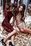 Two sexy beautiful woman wear skinny gold red dress shiny sequin Stock Photos